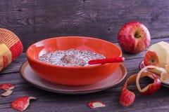 Porridge del grano saraceno con latte Fotografia Stock