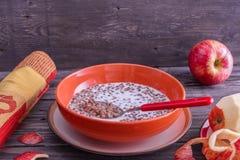 Porridge del grano saraceno con latte Fotografie Stock Libere da Diritti