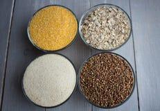 Porridge del grano saraceno dell'avena del grano del cereale Fotografie Stock Libere da Diritti