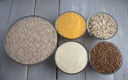 Porridge del grano saraceno dell'avena del grano del cereale Fotografia Stock