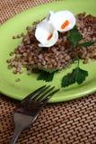 Porridge del grano saraceno su una zolla verde intenso immagini stock libere da diritti
