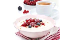 Porridge del semolino con le bacche fresche, dadi e caffè, isolati fotografia stock libera da diritti