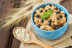 porridge dell'avena in uno stile rustico Fotografia Stock Libera da Diritti