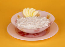 Porridge della farina d'avena con le mele Fotografia Stock Libera da Diritti