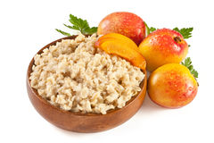 Porridge with fresh peach Stock Images