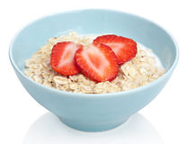 Porridge with fresh strawberry isolated Stock Photo