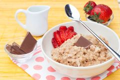 Porridge with fresh strawberry Stock Image
