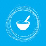 Porridge icon on a blue background with abstract circles around and place for your text. Illustration Royalty Free Stock Photography