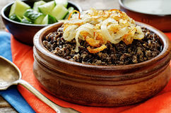 Porridge made with wild rice and black lentils with fried onions Royalty Free Stock Photography