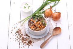 Porridge with champignons. Porridge with mushrooms in a ceramic bowl, fresh onions and sour cream on wooden white background Stock Image
