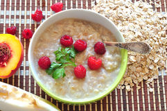 Porridge of oat-flakes Stock Photo