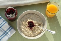 Porridge Orange Juice and Jam Royalty Free Stock Photography