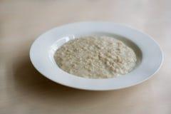 Porridge in piatto bianco Fotografia Stock Libera da Diritti