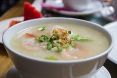 Porridge with prawn for breakfast Royalty Free Stock Photos