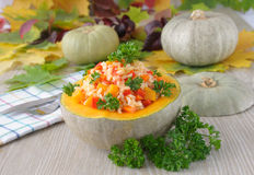 Porridge of rice and vegetables with pumpkin Royalty Free Stock Photo