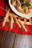 Porridge with wheat germs. Porridge plate, closeup photo of vegetarian food Royalty Free Stock Photo