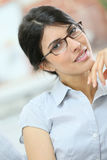 Porrtrait of nice-looking woman wearing glasses Stock Images