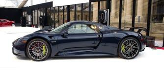 Porsche 918 μαύρη πλάγια όψη Spyder Στοκ εικόνες με δικαίωμα ελεύθερης χρήσης