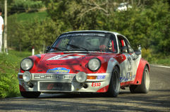 Porsche 911 SC. Renault 5 Turbo on race during the 10th edition of Rally Legend  historical rally in San Marino repubblic ; 14th october 2012 Royalty Free Stock Image