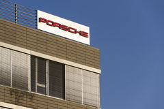 Porsche automotive company logo on Czech headquarters building. PRAGUE, CZECH REPUBLIC - DECEMBER 16: Porsche automotive company logo on Czech headquarters Royalty Free Stock Photos