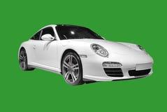 Porsche blanca aisló Fotos de archivo