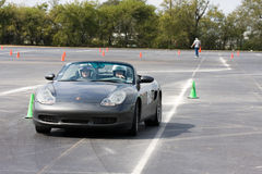 Porsche Boxster Autocrossing royalty free stock photography