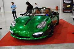Porsche Boxster verde 987 nell'Expo 2012 del croco Immagine Stock