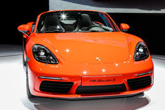 A Porsche 718 Boxter S at the 2016 New York International Auto Show. NEW YORK - MArch 23: A Porsche 718 Boxter S at the 2016 New York International Auto Show Royalty Free Stock Images