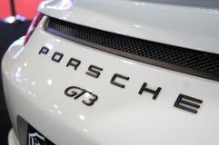 Porsche car logos and emblem at the car body. KUALA LUMPUR, MALAYSIA -NOVEMBER 25, 2018: Porsche car logos and emblem at the car body. High-performance sport stock image