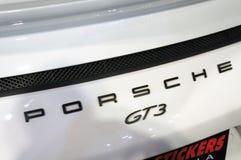 Porsche car logos and emblem at the car body. KUALA LUMPUR, MALAYSIA -NOVEMBER 25, 2018: Porsche car logos and emblem at the car body. High-performance sport royalty free stock photography