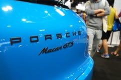 Porsche car logos and emblem at the car body. KUALA LUMPUR, MALAYSIA -NOVEMBER 25, 2018: Porsche car logos and emblem at the car body. High-performance sport royalty free stock photo