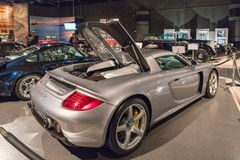 Porsche Carrera GT 2005 at the exhibition in the King Abdullah II car museum in Amman, the capital of Jordan. Amman, Jordan, December 07, 2018 : Porsche Carrera stock images