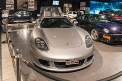 Porsche Carrera GT 2005 at the exhibition in the King Abdullah II car museum in Amman, the capital of Jordan. Amman, Jordan, December 07, 2018 : Porsche Carrera royalty free stock photo