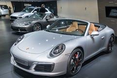 Porsche 911 Carrera S, Porsche 718 Boxster S en Porsche Macan T Stock Foto