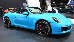 Porsche 911 Carrera 4S Cabriolet convertible sports car stock video footage
