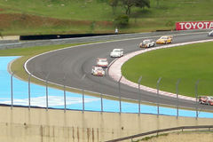 Porsche cars on curve. At Interlagos Circuit royalty free stock photos