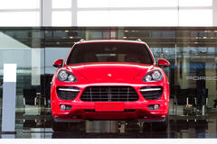 Porsche cars for sale. Porsche cars in showroom for sale Royalty Free Stock Image