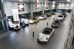 Porsche  cars for sale in showroom Royalty Free Stock Photography