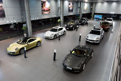 Porsche cars for sale in showroom Royalty Free Stock Photo