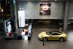 Porsche cars for sale in showroom Royalty Free Stock Image