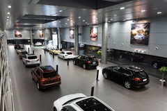 Porsche cars for sale in showroom Stock Photography