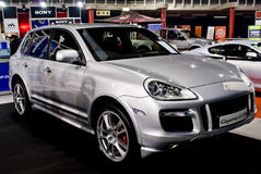 Porsche Cayenne - Luxury SUV - MPH. One of three cars from this manufacturer (Porsche) displayed at the MPH motor show. This, the only vehicle in the sports Stock Photo