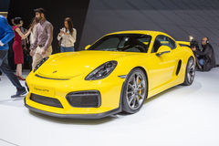 2015 Porsche Cayman GT4. Geneva, Switzerland - March 4, 2015: 2015 Porsche Cayman GT4 presented on the 85th International Geneva Motor Show Royalty Free Stock Photography