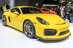 2015 Porsche Cayman GT4. Geneva, Switzerland - March 4, 2015: 2015 Porsche Cayman GT4 presented on the 85th International Geneva Motor Show Stock Image