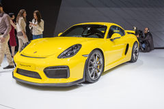 2015 Porsche Cayman GT4. Geneva, Switzerland - March 4, 2015: 2015 Porsche Cayman GT4 presented on the 85th International Geneva Motor Show Stock Photography