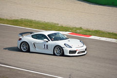 Porsche Cayman GT4 på Monza Arkivbild