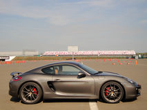 Porsche. Cayman on a Moscow raceway. 11 october 2014. Moscow, Russia Stock Images