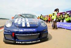 Porsche che ha vinto la corsa Fotografie Stock Libere da Diritti