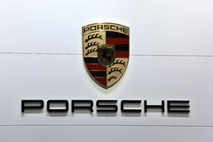 Porsche Company Logo. LEIPZIG, GERMANY - JUNE 1: Porsche Company Logo at the AMI - Auto Mobile International Trade Fair on June 1st, 2014 in Leipzig, Germany Royalty Free Stock Photos