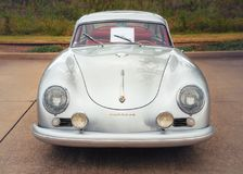 1955 Porsche Continental Coupe Classic Car. Westlake, Texas - October 21, 2017: A front view of a silver color 1955 Porsche Continental Coupe classic car Stock Photo